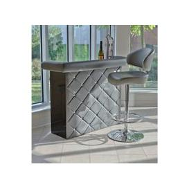 image-Diamond Bar Unit In Grey Faux Leather With Diamante