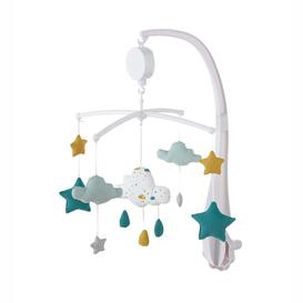 image-White, Blue and Mustard Cotton Musical Mobile for Babies