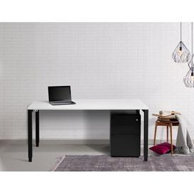 image-Toro Standing Desk Ebern Designs Colour (Top/Frame): Black/White, Size: 1170cm H x1400cm W x 800cm D