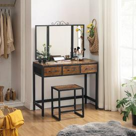 image-Leibowitz Dressing Table Set with Mirror Williston Forge Colour: Rustic Brown