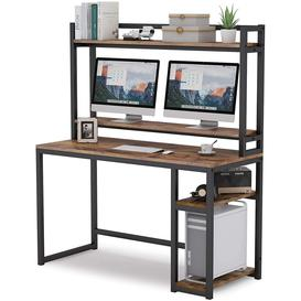 image-Desk Tables, Basic Book Furniture With Storage Space, Computer Tables For Study(Maple)