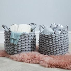 image-Set of 2 Round Knitted Grey Storage Baskets Grey