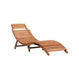 image-Large Wooden Folding Curved Sun Lounger