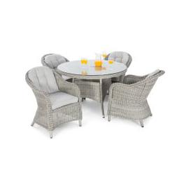 image-Maze Rattan Oxford 4 Seat Round Dining Set with Heritage Chairs