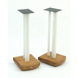 image-60cm Fixed Height Speaker Stand Symple Stuff Finish: White/Medium Bamboo