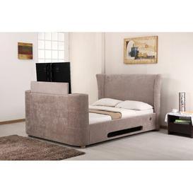 image-Upholstered TV Bed Ophelia & Co. Colour: Mink, Size: Kingsize (5')