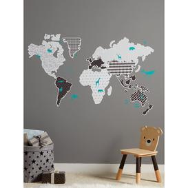 image-Monochrome Map Wall Stickers