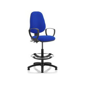 image-Lunar 2 Lever Draughtsman Chair (Fixed Arms), Blue, Free Standard Delivery