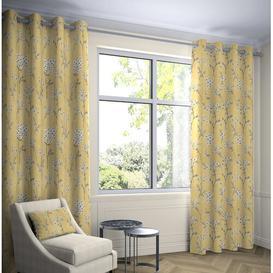 image-Precita Blackout Eyelet Thermal Curtains Fleur De Lis Living Colour: Yellow, Panel Size: Width 228 W x Drop 182 cm, Light Filtration/Thermal: Blackout