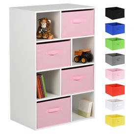 image-Hartleys White 8 Cube Kids Storage Unit & 4 Handled Box Drawers - Pink