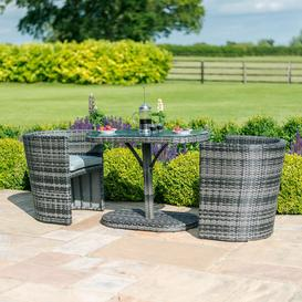 image-Maze Rattan Garden Furniture Balcony Grey Compact Round Bistro Set