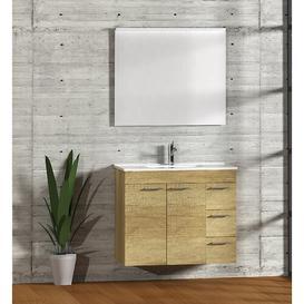 image-Bathroom 700mm Wall Hung Single Vanity Unit Symple Stuff Vanity Base Colour: Light Oak