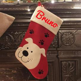 image-Dog Personalsied Christmas Stocking East Urban Home Colour: Red