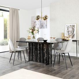 image-Magnus Black Marble Dining Table with 6 Brooklyn Grey Velvet Chairs