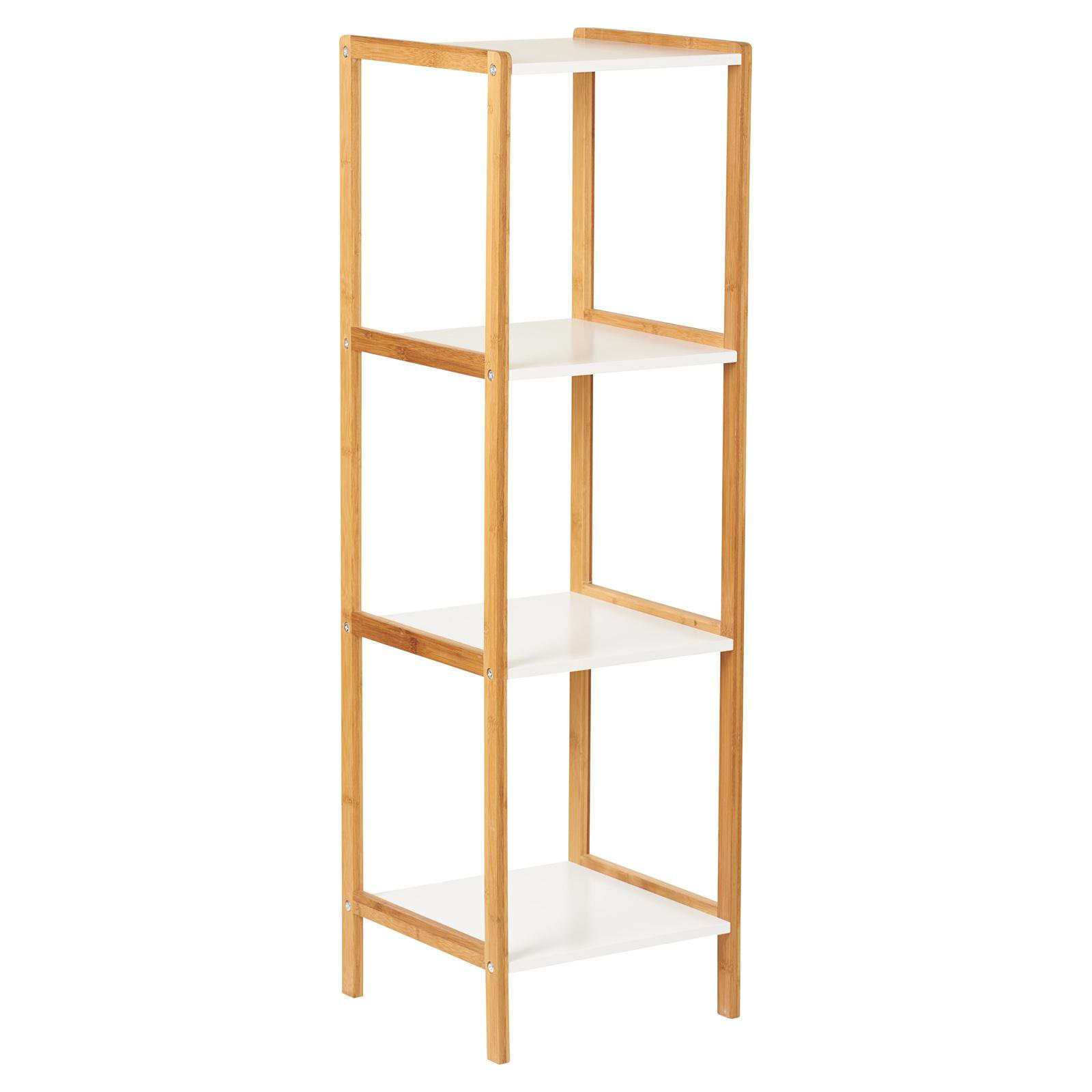 image-Hartleys White & Bamboo 4 Tier Bathroom Shelves