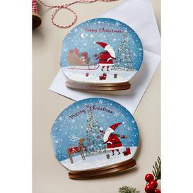 image-Pack of 10 Santa Snow Globe Christmas Cards