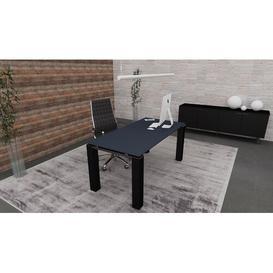 image-Bridgett Writing Desk Ebern Designs Colour (Top/Frame): Titanium/Black, Size: 73.5cm H x 180cm W x 80cm D