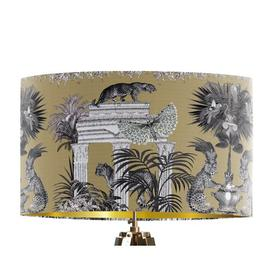 image-Classical Jungle Leopard 45cm Cotton Drum Table Lamp Shade Bloomsbury Market Colour: Gold