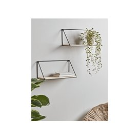 image-NEW Two Industrial Wood & Metal Shelves - Small