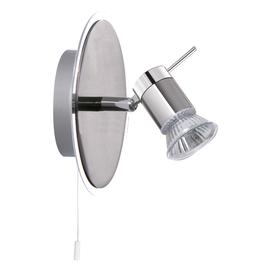 image-Searchlight 7441CC-LED Aries One Light Wall Spotlight In Chrome And Satin Silver