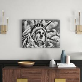 image-Majestic Statue of Liberty Photographic Print on Canvas in Monochrome East Urban Home Size: 70cm H x 100cm W