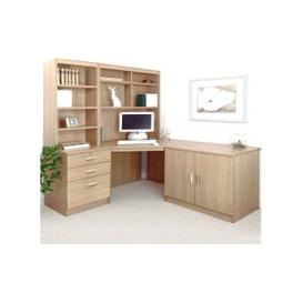 image-Small Office Corner Desk Set With 3 Drawers, Cupboard & Hutch Bookcases (Sandstone)