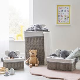 image-Grey Plush Elephant Wicker Basket Grey