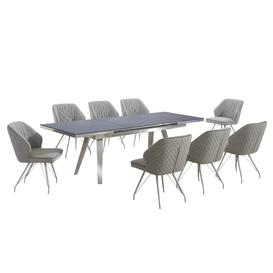 image-Antique Grey Extendable Dining Table with 8 Natural Textured Linen Effect Occasional Brushed Steel Framework Chairs