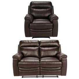 image-Argos Home Paolo Chair & 2 Seater Manual Recline Sofa -Brown
