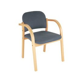 image-Malva Wooden Frame Reception Armchair, Navy, Free Standard Delivery