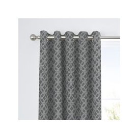 image-Curtina Oriental Squares Geometric Charcoal Eyelet Curtains Charcoal