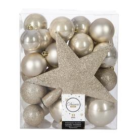 image-A by AMARA Christmas - Set of 33 Assorted Baubles and Tree Topper - Pearl