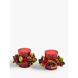 image-John Lewis & Partners Christmas Cranberry Tealight Candle Holders, Set of 2, Red