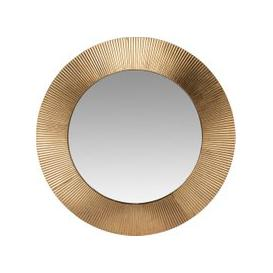 image-Ribbed Gold Round Metal Mirror D66