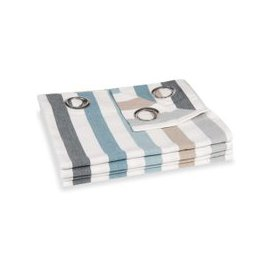 image-Single Stripe Print Cotton Eyelet Curtain 140x250