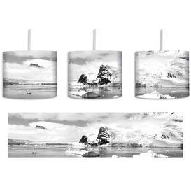 image-Winter Landscape 1-Light Drum Pendant East Urban Home Shade Colour: White/Black