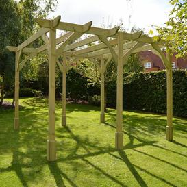 image-Randi Manufactured Wood Pergola Sol 72 Outdoor Finish: Light Green, Size: 270cm H x 420cm W x 420cm D