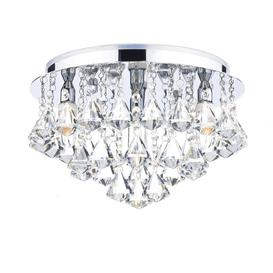 image-Dar FRI0450 Fringe IP44 Crystal Bathroom Flush Ceiling Light