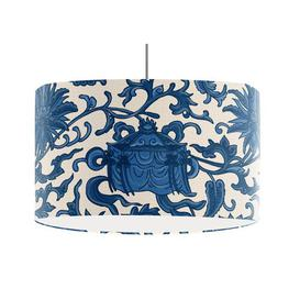 image-Oriental Lotus 45cm Cotton Drum Pendant Shade Bloomsbury Market