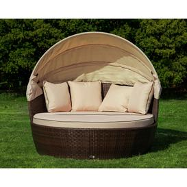 image-Rattan Garden Day Bed in Brown - Venice - Rattan Direct