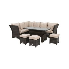 image-Dorset Garden Corner Dining Set with Rising Table, Brown Weave and Beige Fabric