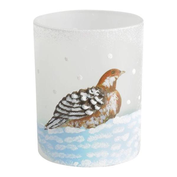 image-Libra Winter Scene with Partridge Candle Holder - Xmas-18
