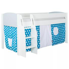 image-Stompa Uno S Plus Mid-Sleeper Bed with Grey Headboard and Star Print Tent