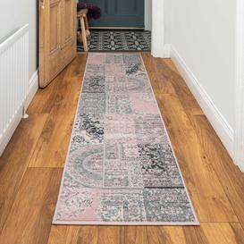 image-Pink Grey Traditional Patchwork Living Room Rug - Milan