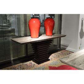 image-Stone International Ark Beveled Marble Console Table with Wenge Wooden Base