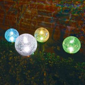 image-Bright Garden Solar Dual Function Crackle Ball Light - White