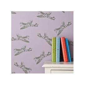 image-Designer Kids Wallpaper- 'Spitfire' in Lilac & Green