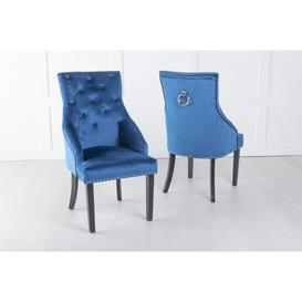 image-Large Blue Velvet Knockerback Ring Dining Chair