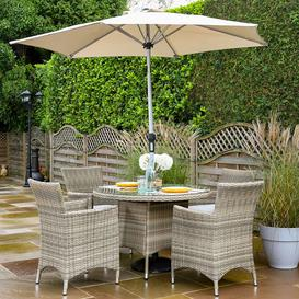 image-2020 Hartman Westbury 4-Seat Garden Dining Set With Round Table & 2.5m Parasol - Beech/Dove