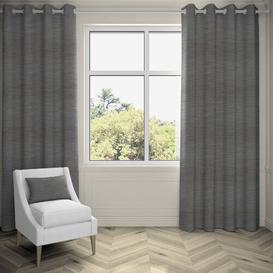 image-Agan Hamleton Textured Eyelet Blackout Thermal Curtains Ebern Designs Colour: Charcoal Grey, Panel Size: 116 W x 228 D cm